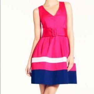 Kate Spade Sawyer Dress Sz 2 EUC Coral/blue/white